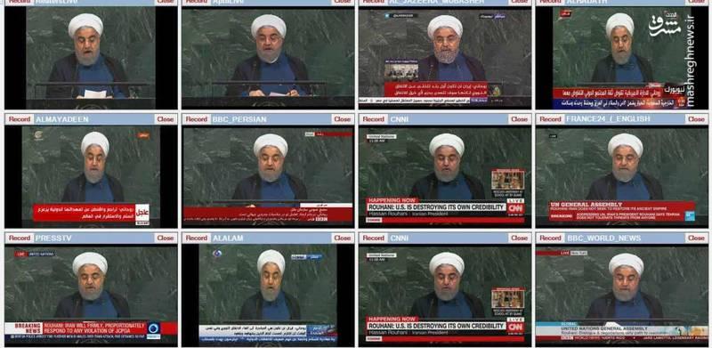 پخش زنده سخنرانی روحانی از شبکه های تلویزیونی جهان
