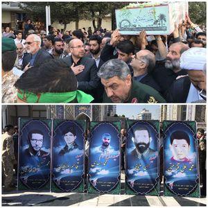 عکس/ حضور قالیباف در مراسم تشییع شهدا در مشهد