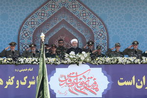 روحانی در رژه نیروهای مسلح