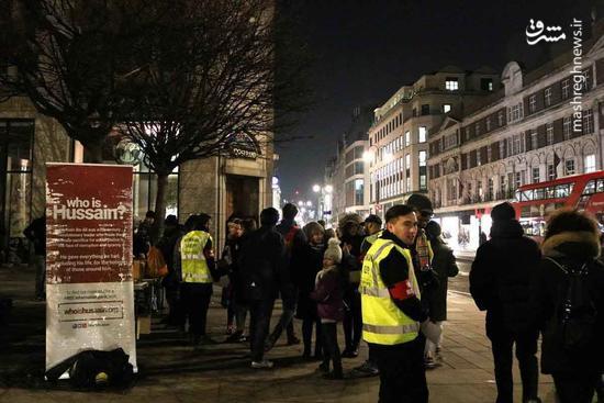 توزیع غذای نذری میان بیخانمانها و مردم در شهر لندن