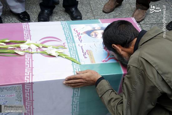 طواف پیکر شهید حججی در حرم مطهر رضوی