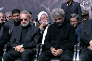 عکس/ علی لاریجانی در مراسم تشییع شهید حججی