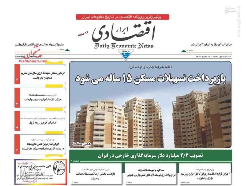صفحه نخست روزنامه های شنبه ۱۵ مهر