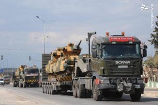 حرکت سامانه های پدافندی ترکیه در مرز سوریه و در نزدیکی شهر ادلب