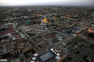 تصویر هوایی زیبا از بارگاه ملکوتی حضرت علی بن موسی الرضا(ع)