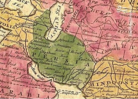 نقشه بریتانیایی چاپ ۱۸۰۸ میلادی که نام «خلیج فارس» را نشان میدهد.