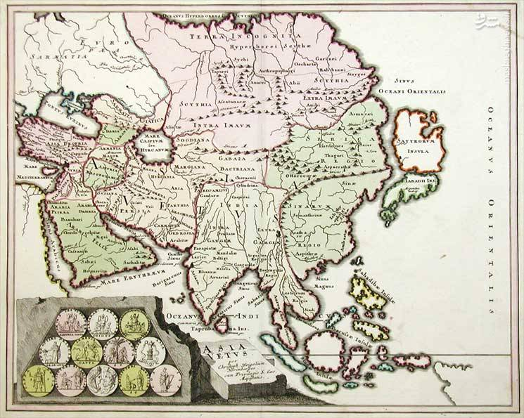 نقشهای اروپایی از سال ۱۷۱۹ میلادی که نام خلیج فارس را نشان میدهد.