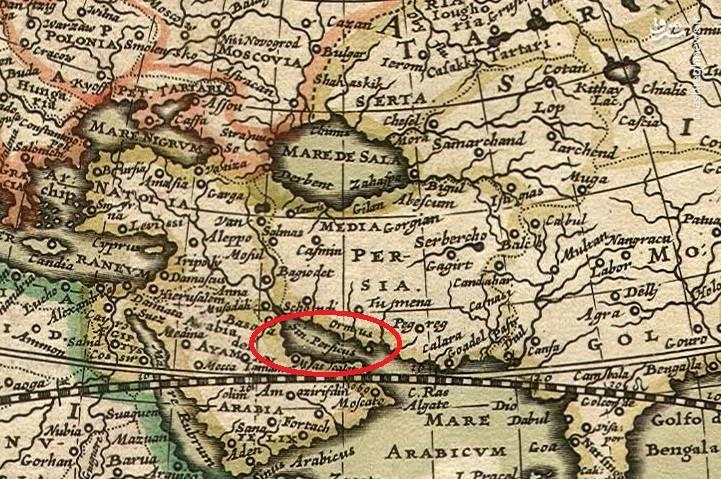 """نقشه ۱۶۸۹ با خلیج فارس به زبان یونانی """"Sinus Persicus"""""""