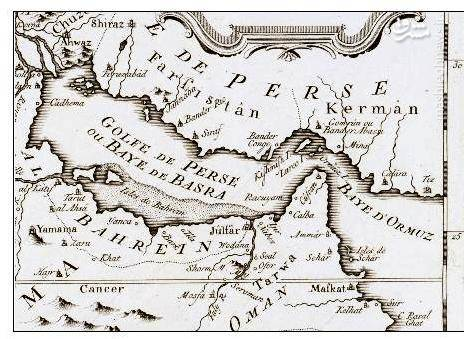 نقشه تاریخی به زبان فرانسه از خلیج فارس