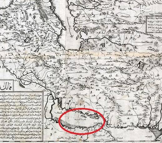 نقشه ایران در سال۱۱۴۲ قمری تهیه شده توسط ابراهیم عز متفرقگان درگاه عالی دربار عثمانی.