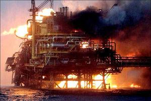 فیلم/ انفجار در سکوی نفتی در خلیج فارس