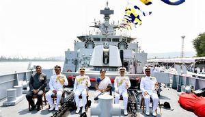 عکس/ تحویل ناو جدید ضد زیردریایی به ارتش هند