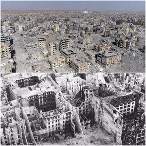 عکس/ مقایسه ویرانی های رقه با برلین پس از جنگ جهانی دوم