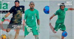 عکس/ پیمان حسینی در بین سه نامزد بهترین گلر سال فوتبال ساحلی