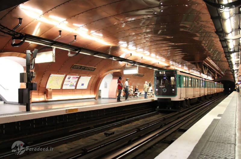 ایستگاه متی یرز در شهر پاریس؛ از سال 1904 افتتاح و در چند دهه گذشته با دیوارهای مس و دنده های غول پیکر و چرخ دنده های سقف شکل گرفته