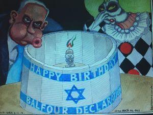 کاریکاتور/ حمایت دولت انگلیس از بیانیه بالفور