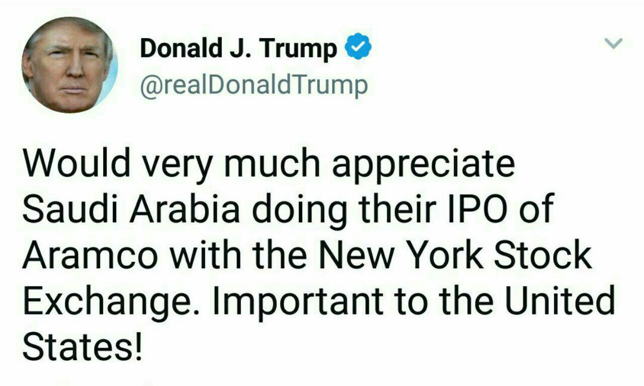 Donald Trump Pitches NYSE for 'Very Important' Saudi Aramco