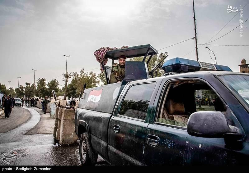 حضور نیروهای حشد الشعبی جهت برقراری امنیت در کربلا