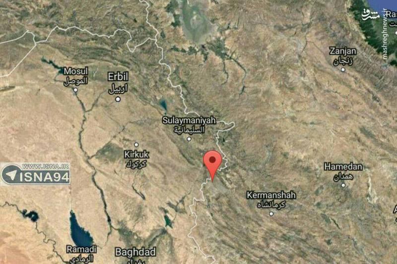 محل دقیق زلزله  7.3 ریشتری در  استان كرمانشاه