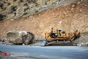 عکس/ ریزش کوه در محور کرمانشاه به سرپل ذهاب
