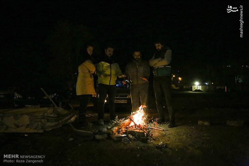 حضور مردم همدان در سطح شهر پس از وقوع زلزله