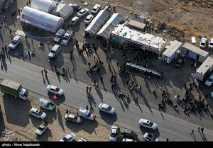 تصاویر هوایی پیاده روی زائران حرم رضوی