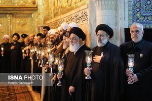 عکس/خطبه خوانی شب شهادت امام رضا(ع) در حرم رضوی