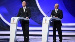 عکس/ سخنرانی پوتین و اینفانتینو در مراسم قرعه کشی جام جهانی