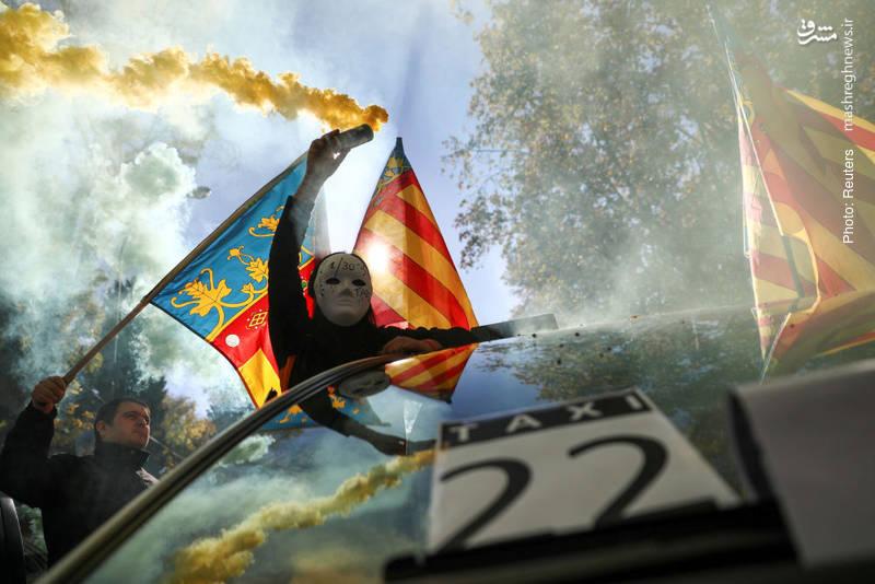 اعتراض تاکسیداران در مادرید به قوانین شرکتهای جدید تاکسیرانی