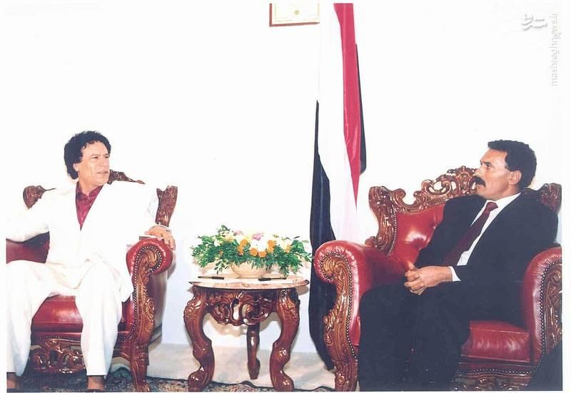 عبدالله صالح در کنار معمر قذافی
