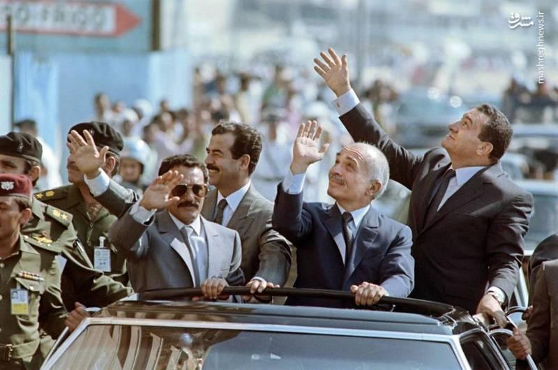 عبدالله صالح در کنار صدام حسین و حسنی مبارک در مصر