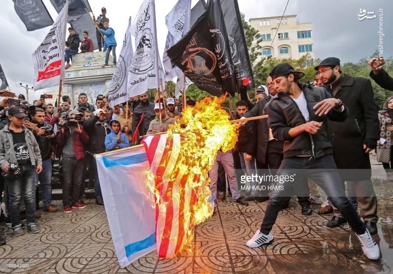 تظاهرات مردم غزه در اعتراض به تصمیم ترامپ