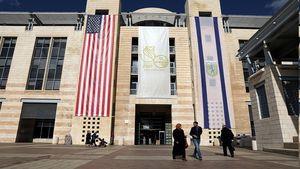 عکس/ پرچم آمریکا و اسرائیل در شهرداری قدس اشغالی