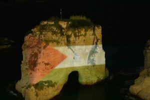 عکس/ چراغانی صخره معروف بیروت با پرچم فلسطین