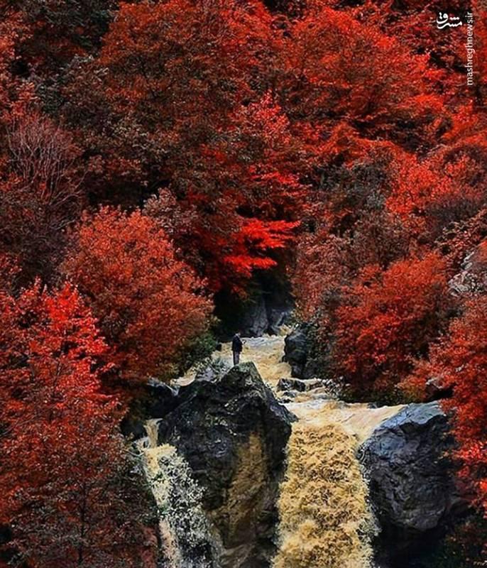 عکس طغیان آبشار زیبای ماسوله در پاییز