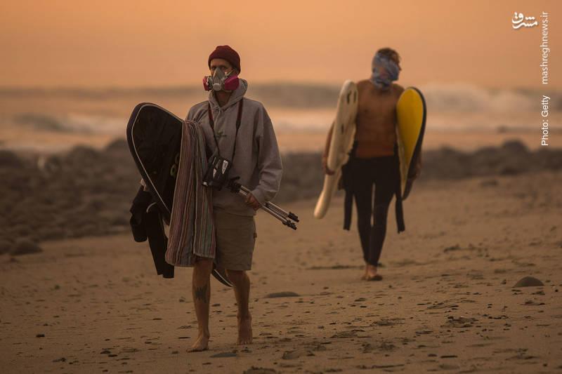 با گسترش آتشسوزی در کالیفرنیا، ورزش در سواحل تنها با استفاده از تجهیزات ایمنی برای تنفس ممکن است.