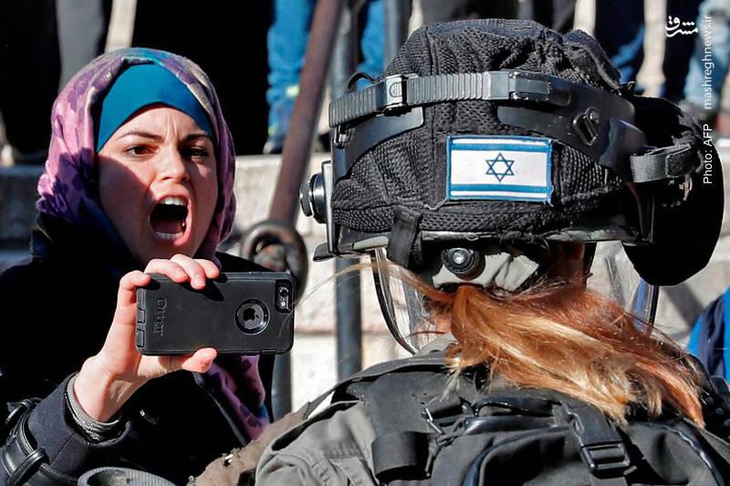 فریاد شجاعانه یک فلسطینی در برابر یک سرباز صهیونیست