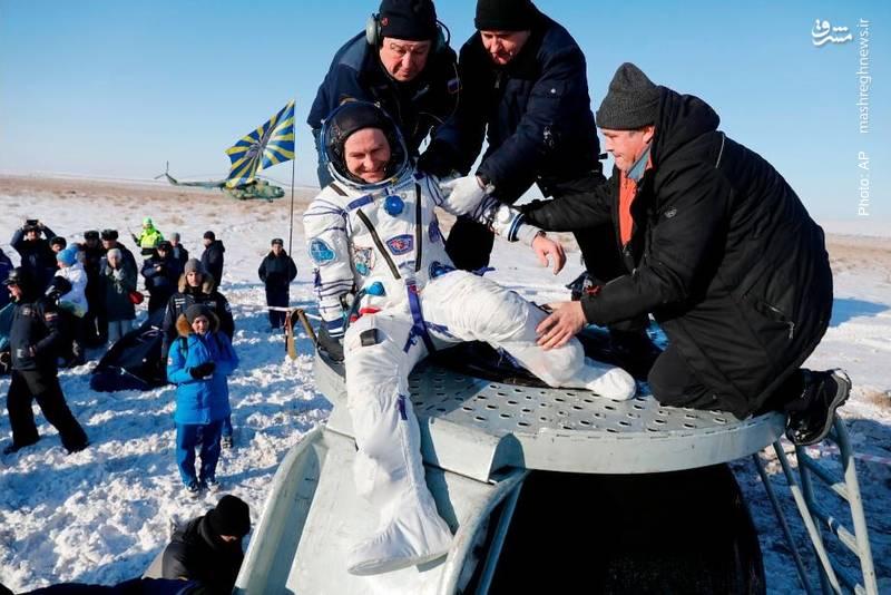 فرود کپسول سایوز MS-05 در قزاقستان پس از انجام مأموریت