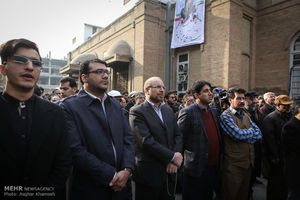 حضور قالیباف در مراسم تشییع شهید خوش لفظ