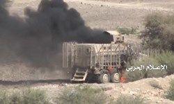 انهدام ۷ خودروی شبه نظامیان سعودی در تعز