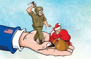 کاریکاتور/ درگیری مزدوران صهیونیستی با بابانوئل