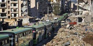 خروج خفت بار تروریستهای غوطه غربی دمشق با اتوبوسهای سبز ارتش سوریه!