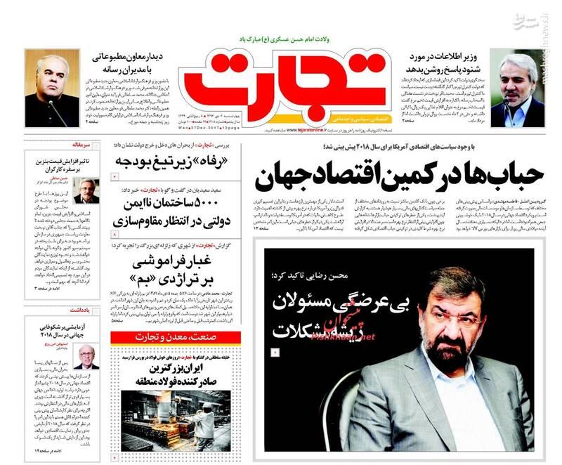 صفحه نخست روزنامههای چهارشنبه۶ دی