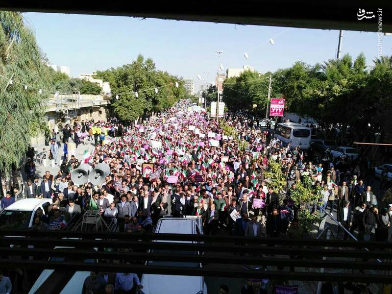 راهپیمایی مردم بوشهر علیه آشوبگران