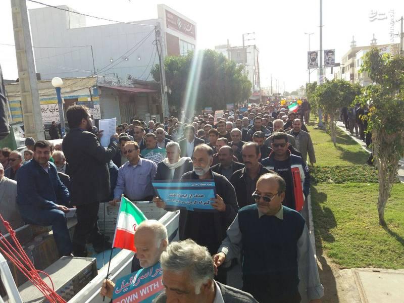 راهپیمایی مردم گناوه علیه آشوبگران