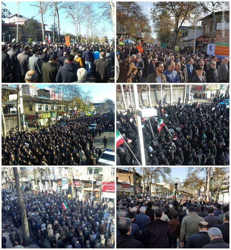 راهپیمایی مردم لاهیجان علیه آشوب گران