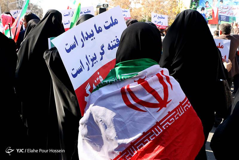 راهپیمایی مردم شیراز علیه آشوب گران