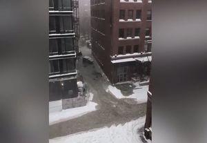 فیلم/ جاری شدن سیل در خیابان ها بوستون