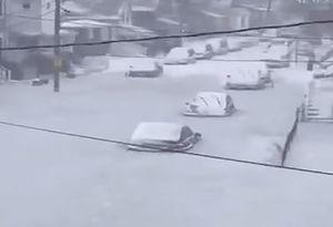 فیلم/ سیلاب یخ زده در ماساچوست