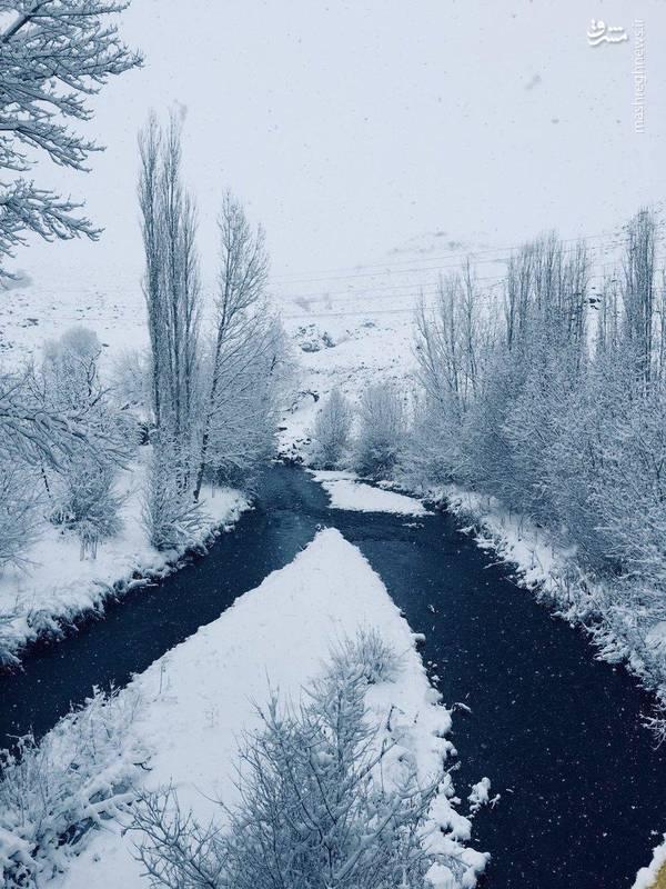 عکس/ طبیعت زمستانی رودخانه ایلوانق خلخال